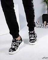 Кроссовки женские с принтом черные, фото 1