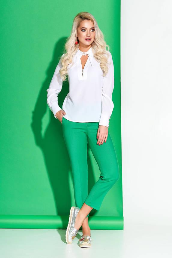 Белая блузка шифоновая модная с отложным воротником, фото 2