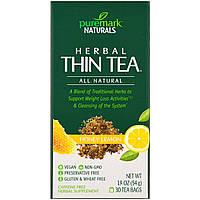 PureMark Naturals, Травяной чай для похудения, мед и лимон, 30 чайных пакетиков, 1,9 унции (54 г)