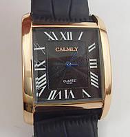 Женские наручные часы Calmly 6546 золотистые с черным ремешком, римские цифры