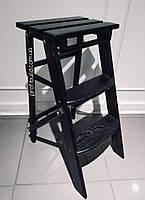 Черная деревянная стремянка VENGE, 3 ступени в гардероб