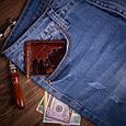 """Зажим для денег кожаный универсальный на кнопке Crystal """"7 чудес света"""". Цвет коньяк, фото 6"""