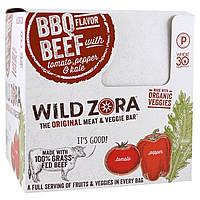Wild Zora Foods LLC, Батончик из мяса и овощей, говядина барбекю и помидор, перец и капуста, 10 упаковок, по 1,1 унц. (31 г) каждая