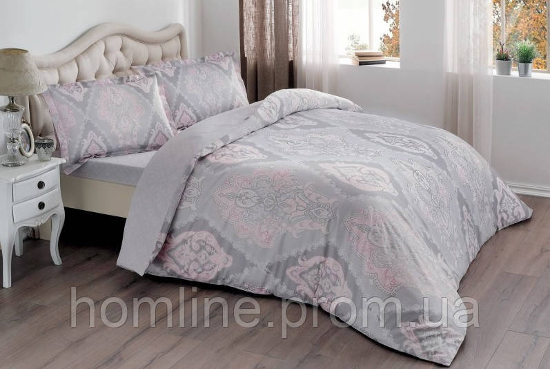 Постельное белье Tac сатин Vales pembe v03 розовый евро размер
