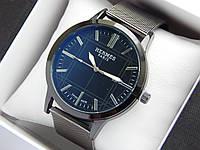 Кварцевые наручные часы Hermes черного цвета, кольчужный браслет, с датой, фото 1