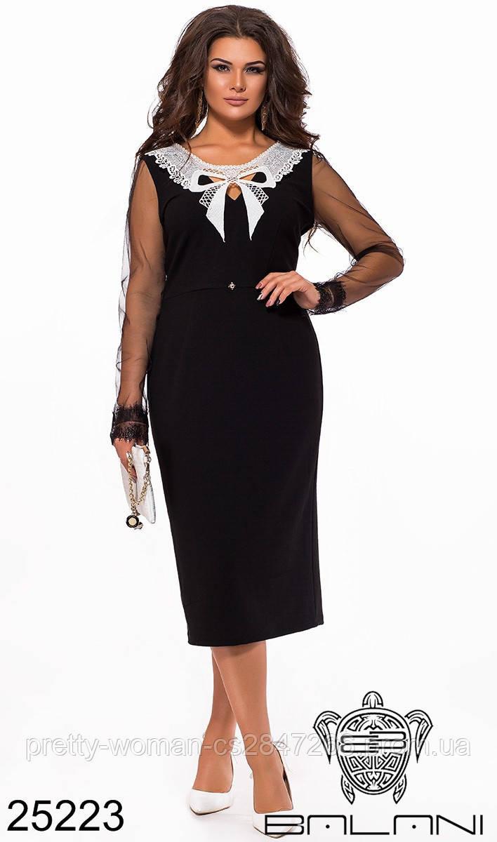 Элегантное черное кружевное платье с открытыми плечами