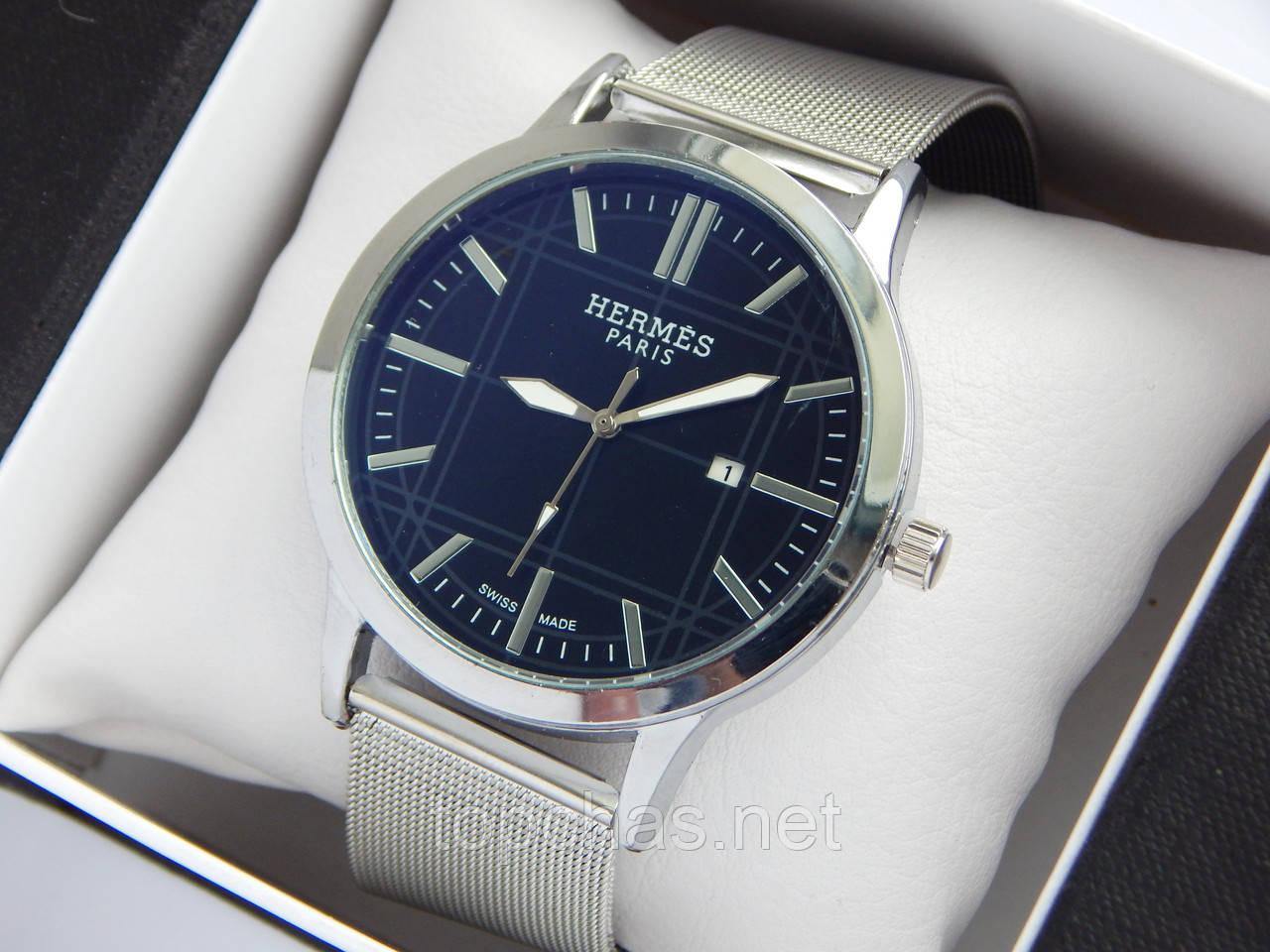 e503a309 Кварцевые наручные часы Hermes серебристого цвета, черный циферблат,  кольчужный браслет, с датой -