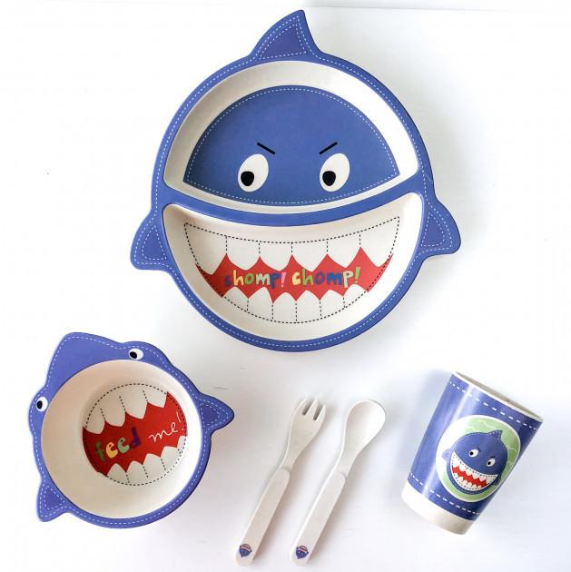 Набор детской посуды из бамбукового волокна Акула Elite Lux, 5 предметов