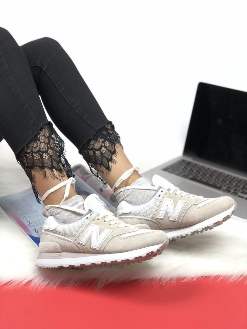 Женские кроссовки New Balance 574 Grey. Натуральная кожа