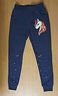 Трикотажные спортивные штаны с Единорогом для девочки, р.134