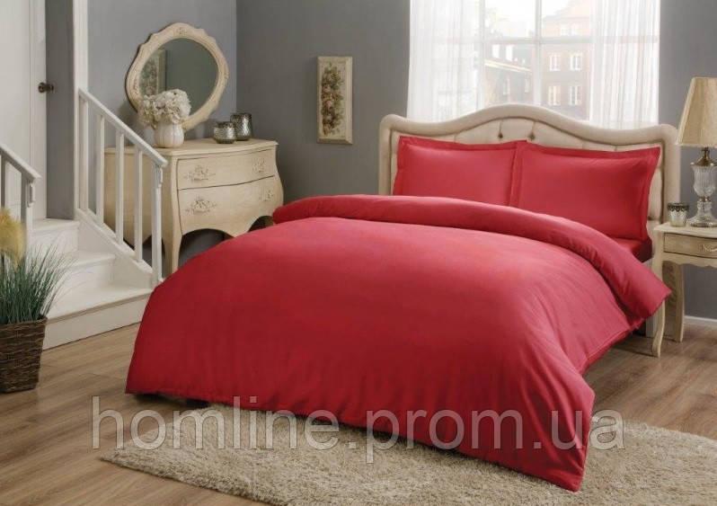 Постельное белье Tac Premium Basic Kirmizy красный евро размер