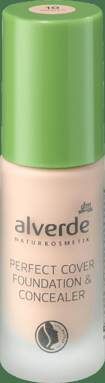 Тональный крем alverde NATURKOSMETIK Perfect Cover Foundation & Concealer Vanilla № 10, 20 мл.