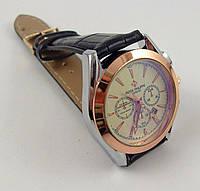 Мужские наручные часы Patek Philippe 012948 серебро/золото с черным ремешком, календарь