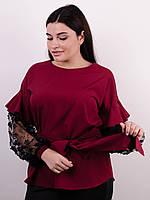 Блузка нарядная с кружевом Карина бордо, фото 1