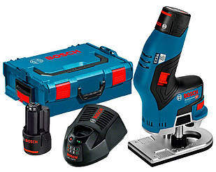 Фрезер акумуляторний Bosch GKF 12V-8 + з/у GAL 1230 CV + 2 x акб GBA 12V 2 Ah + валіза L-boxx (06016B0000)