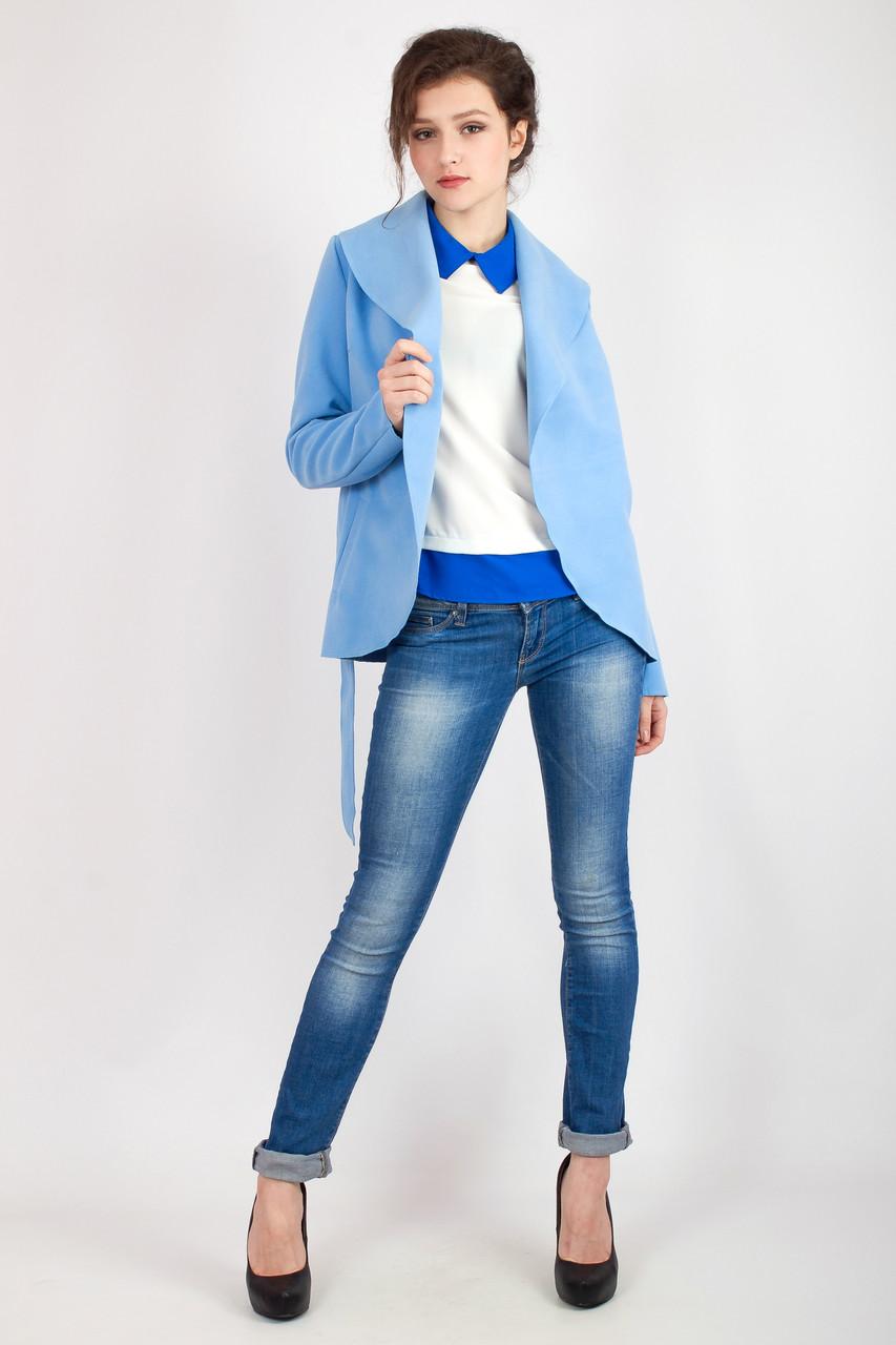 Яркий кардиган голубого цвета