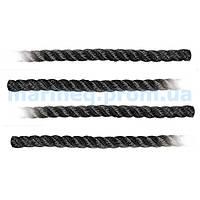 Шнур швартовый, чёрный, Ø 10 мм