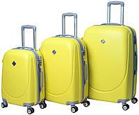 Набір валіз Bonro Smile пластикових з подвійними колесами Жовтий 3 шт, фото 1