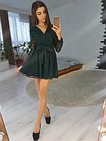 a9b4560af43 Темно - зеленое платье из сетки в горошек