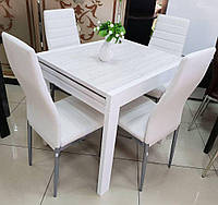 Стол обеденный СЛАЙДЕР белый/ АЛЯСКА 81,5(+81,5)х67см