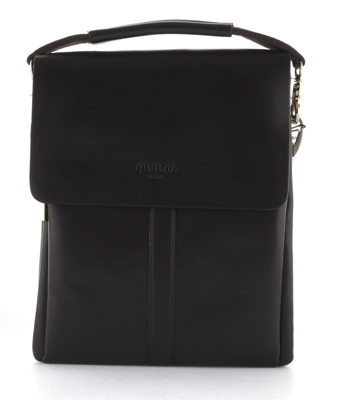 Удобная мужская стильная прочная сумка из качественно PU кожи POLO art. B3386-2 коричневая