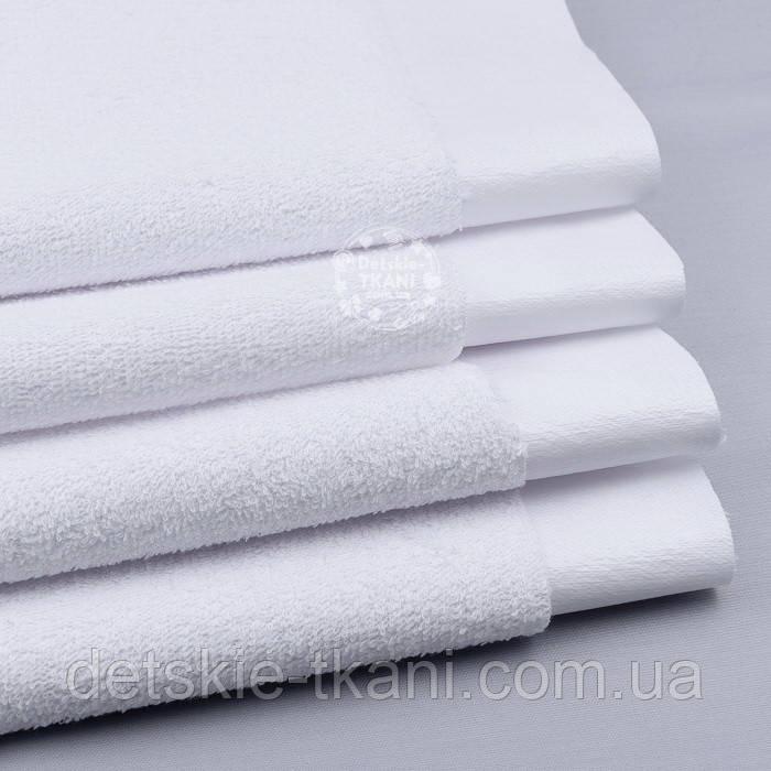 Непромокаемая махровая ткань белого цвета (Польша)