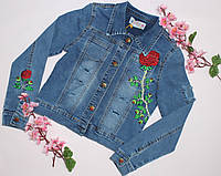 Куртка джинсовая Роза с вышивкой , 6-14 лет, джинсовый варёнка, фото 1