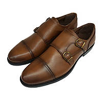 Мужские кожаные туфли монки Gartiero рыжие SH0036 e705bd8d6f39f