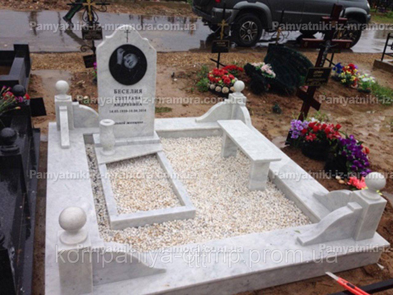 Памятник на могилу из Уральского мрамора Коелга  №53