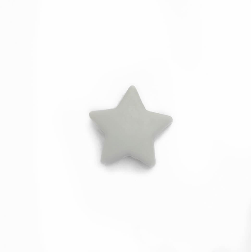 Мини звездочка (светло-серая) бусина из пищевого силикона