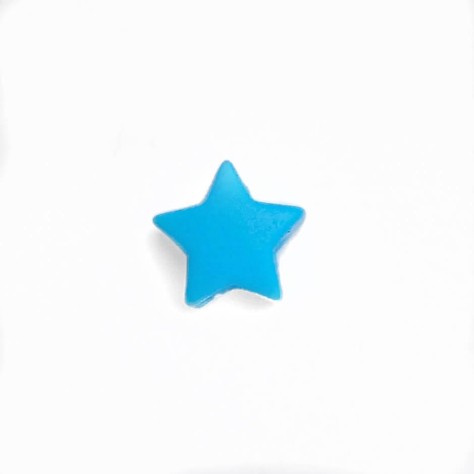 Мини звездочка (голубой) бусина из пищевого силикона