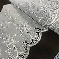 Прошва белая (шитьё) с цветочной вышивкой, ширина 16 см, фото 1