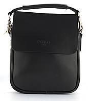 Зручна чоловіча стильна міцна сумка з якісно PU шкіри POLO art. B371-1 чорна, фото 1