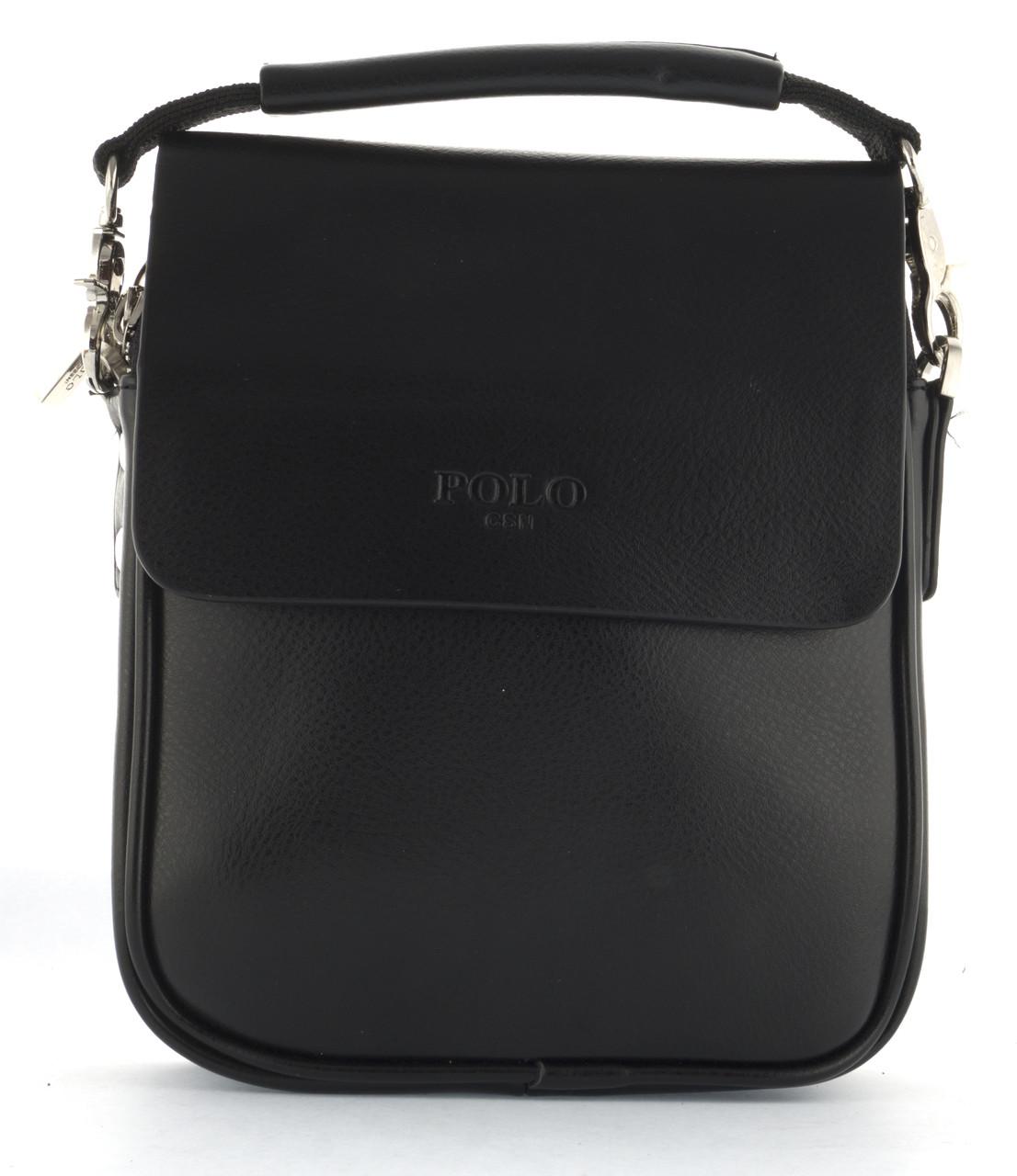 Зручна чоловіча стильна міцна сумка з якісно PU шкіри POLO art. B371-1 чорна