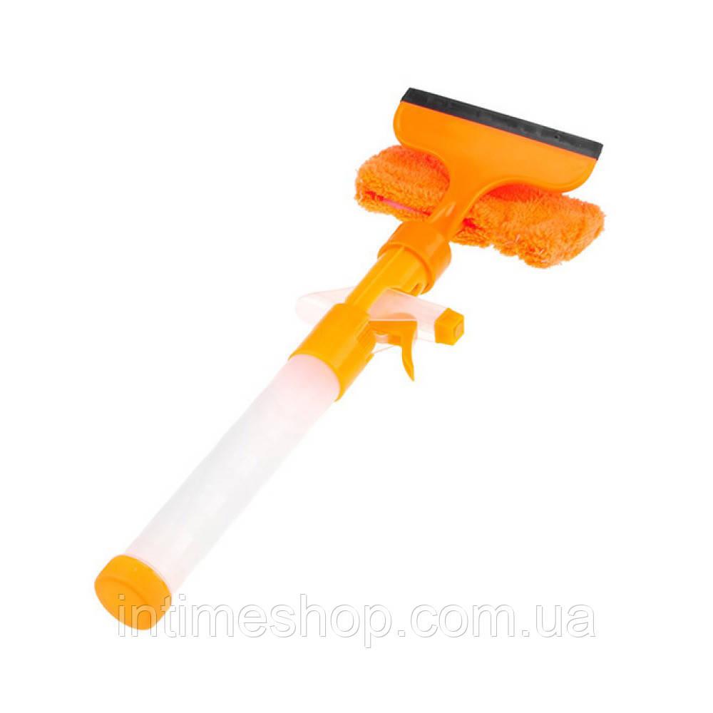 🔝 Щётка скребок для мытья окон с распылителем Water Spray Window cleaner, швабра для окон, оранжевая | 🎁%🚚