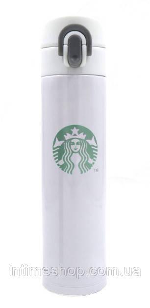 🔝 Термос для напитков из нержавеющей стали, Starbucks, Старбакс, 380 мл., цвет - белый | 🎁%🚚