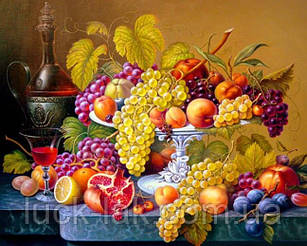 Алмазная вышивка натюрморт, фрукты 40х30 см, полная выкладка, квадратные стразы НА ПОДРАМНИКЕ 39х29 см