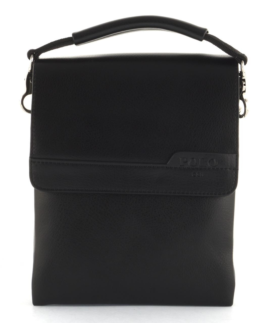 Якісна міцна чоловіча сумка почтальонка з якісної шкіри PU POLO art. B363-1 чорний
