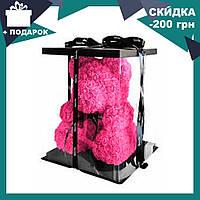 Красивый мишка из латексных 3D роз 40 см с лентой в подарочной коробке | Розовый