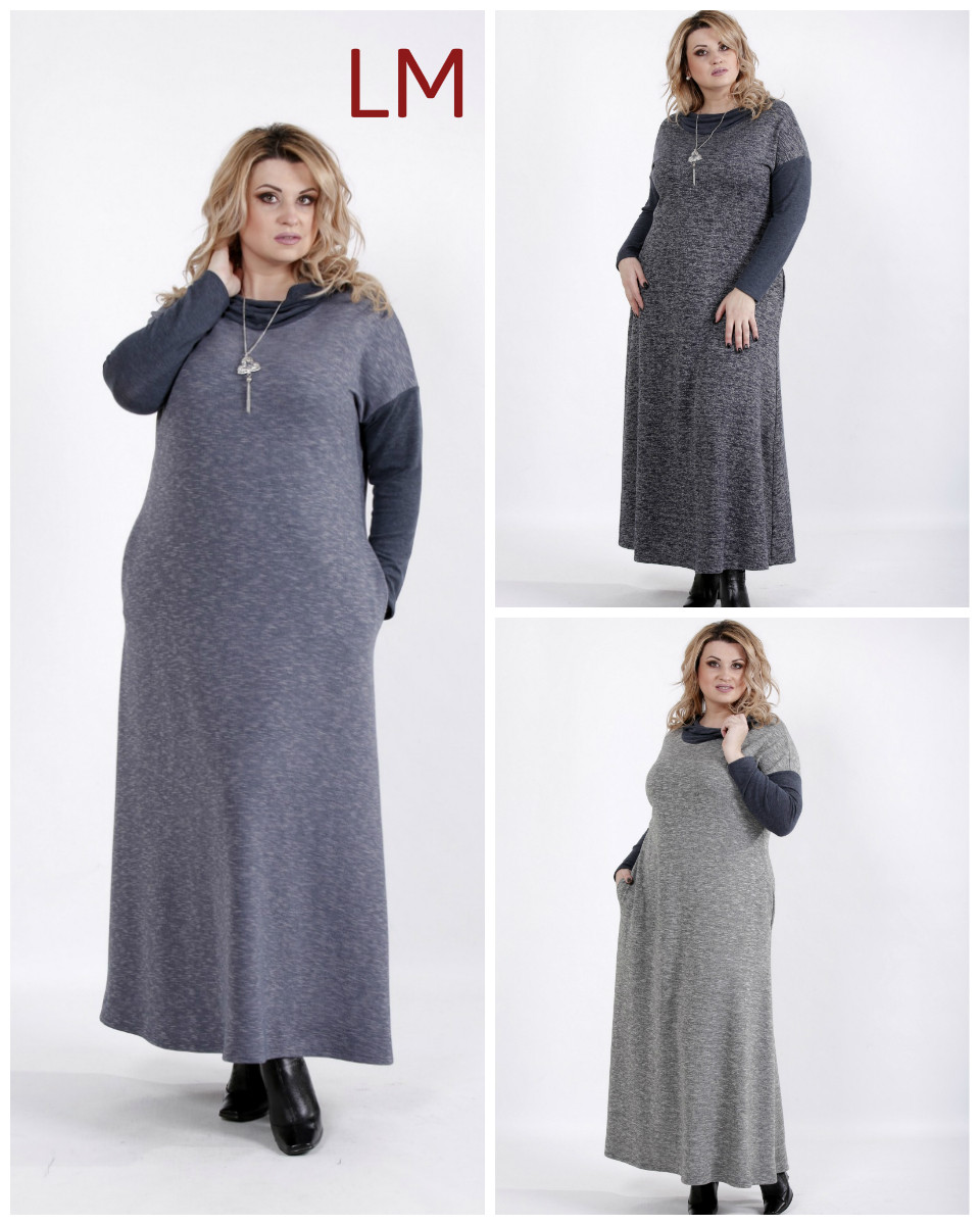 65ef4c72c8a От 42 до 74 р Платье 7701027 женское батал большой размер осеннее деловое  серое синее свободное