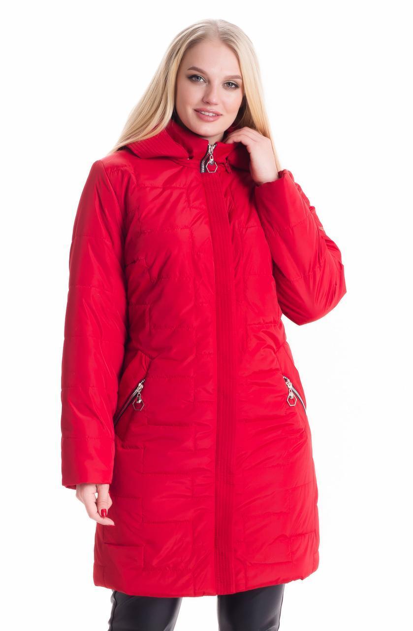 Удлиненная красная куртка деми до 70 размера