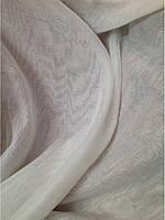 Однотонная белая тюль из льна