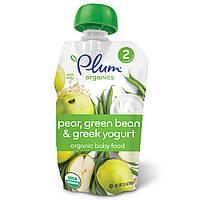 Plum Organics, Органическое детское питание, этап 2, груша, зеленая фасоль и греческий йогурт, 3,5 унции (99 г)