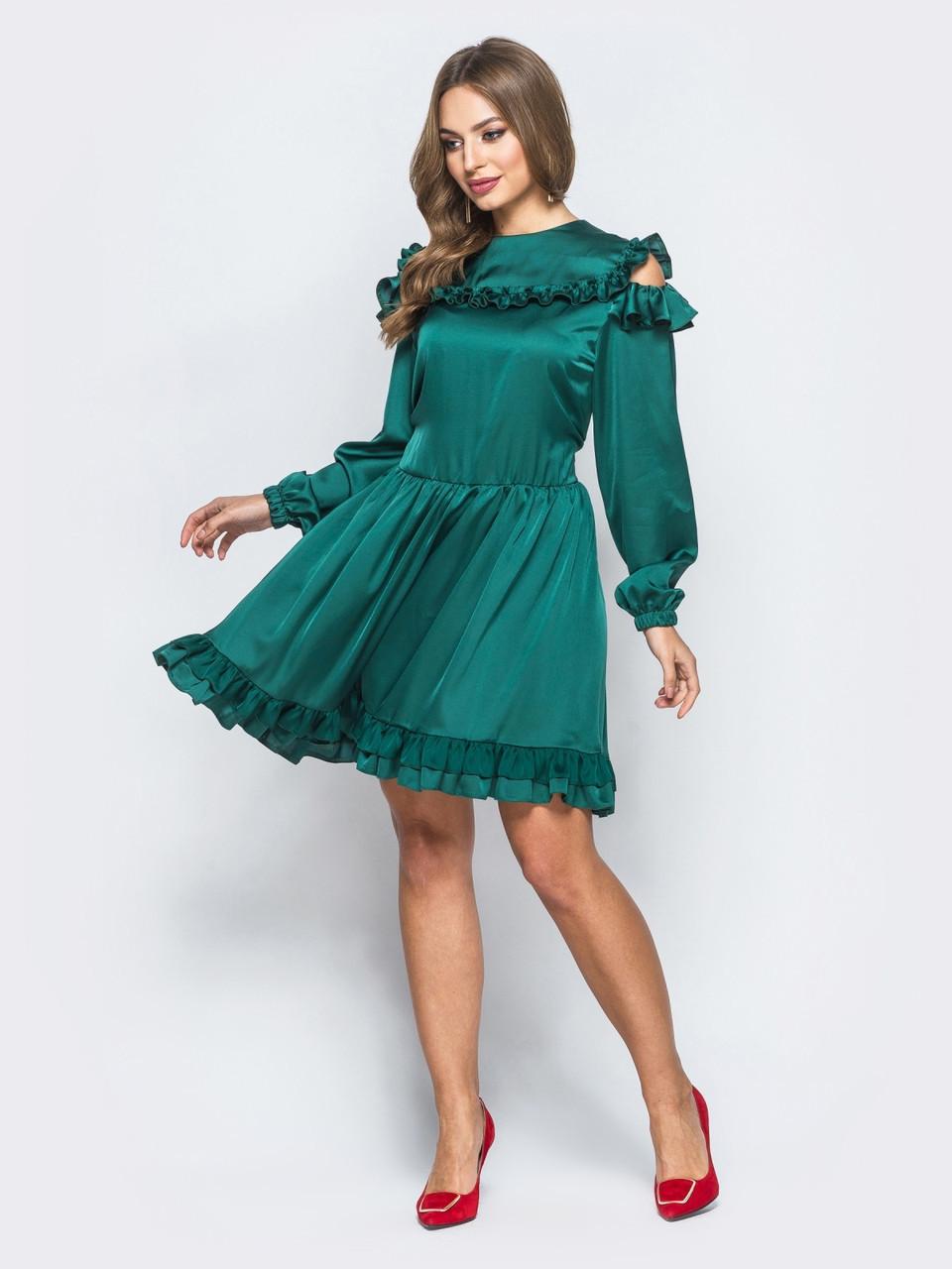 52cc0595131 🔘️Шелковое платье с расклешенной юбкой и рюшами (зеленое)   Размер ...