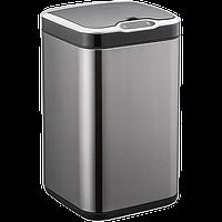 Сенсорное мусорное ведро JAH 13 л квадратное черный металлик с внутренним ведром, фото 1