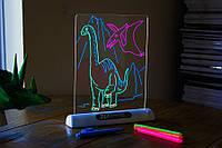 🔝 Доска для рисования маркером, серия - динозавры, 3d доска для рисования | 🎁%🚚