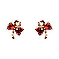 """[10х8 мм] Позолоченные серьги-пуссеты (гвоздики) """"Ключи от сердца"""" с красными фианитами"""