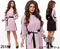 Двухцветное прямое платье с карманами и поясом размеры S-L, фото 1