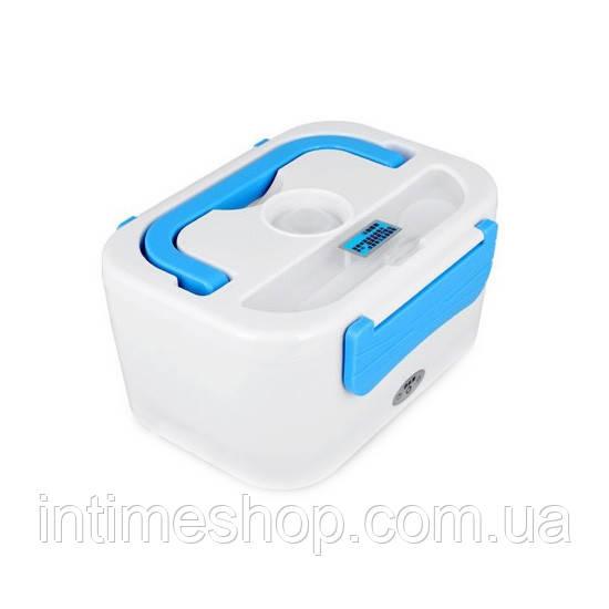 🔝 Электро ланч бокc, автомобильный на 12-V с подогревом еды, YY-3066 - Белый с синим, пищевой контейнер 🎁%🚚