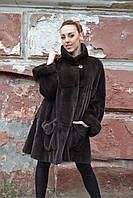 Норковая шуба стриженая коричневая 48-50рр